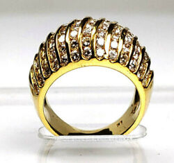 14k Solid Yellow Gold Round Cut Diamond Channel Set Band 2.78 Ctw And Size 5andnbsp