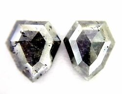 Very Big 14.18tcw Gray Antique Pear Rose Cut African Loose Natural Diamond Pair