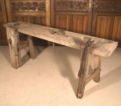 Antique French Workbench In Solid Oak Use As Sideboard, Buffet, Console, Table
