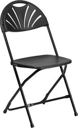 100 Pack 650lbs Capacity Commercial Grade Fan Back Black Plastic Folding Chair