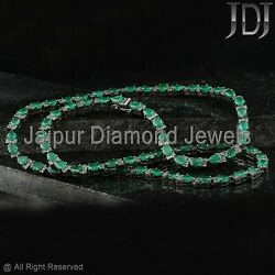 49ct Natural Green Emerald Necklace 925 Sterling Silver Diamond Pave Jewelry 26