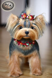 Yorkshire terrier.  Size 38cm. Realistic toy. Dog. Puppy.