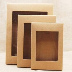 20pcs Kraft Paper Box For Weddings Party Muffin Packaging With Window Gift Boxes