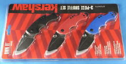 Kershaw 8700 Shuffle Multi-function Folding Knives Set Of 3 Blue, Red And Black