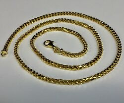 14k Solid Yellow Gold Franco Curb Box Link 16 3 Mm 22 Grams Chain Necklace