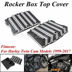 Black Motorcycle Rocker Box Top Covers For Harley Touring Twim Cam Softail 99-17