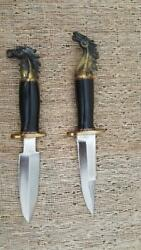 Seabiscuit Knife Set, One Of A Kind, Hand Made Blades And Cast Horse Head Handles.