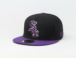 New Era 59Fifty Hat Mens MLB Chicago White Sox 2 Tone Black Purple Fitted Cap $34.00