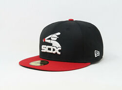 New Era 59Fifty Hat Mens MLB Chicago White Sox 2 Tone Black Red Coop Fitted Cap