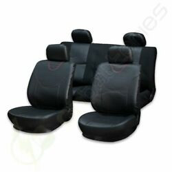 10pc Car Seat Covers W/headrest Covers For Kia Black Semi-pu Leather/punch Suede
