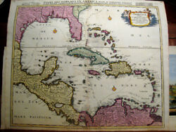 Caribbean And Central America.original Engraved Map.reiner Ottens.amsterdam 1720