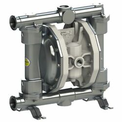 Double Diaphragm Pump By Fluimac -pf50 -food Grade -316 Ss Body -1 Clamp-19 Gpm