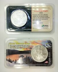 Lot Of Two 2001 And 2003 American Eagle Silver Coin 999 Bullion W Holder