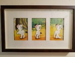 Ultimate One-of-a-kind Kimba The White Lion 1960's 3 Consecutive Cels W/ Backgrd