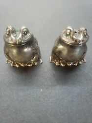 Rare Vintage And Co. Sterling Silver Frog Salt And Pepper Shakers Ornate Set