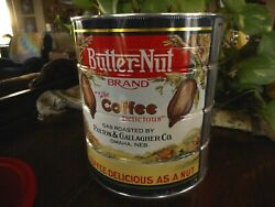 Vintage Butternut Coffee Can W Plastic Lid 1988 Omaha Ne Paxton And Gallager Co