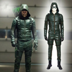 Green Arrow 5 Oliver Queen Cosplay Costume Halloween Outfits Leather Men Suit