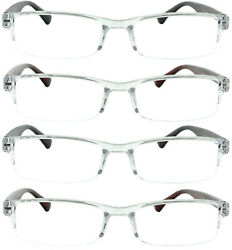 4 Pack Reading Glasses Readers Men Women Semi Rimless Square Frame $10.95