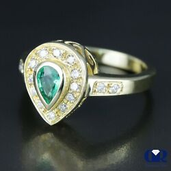 Natural 0.78 Ct Pear Cut Emerald And Diamond Cocktail Ring And Right Hand Ring 14kyg