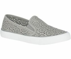 Sperry Womenand039s Seaside Perforated Slip-on Sneakers Grey Leather Pick A Size