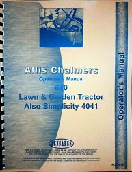 Allis Chalmers 620 Tractor Operators Owners Manual Simplicity 4041 Lawn Garden