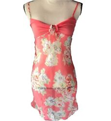 Avon Intimates Lingerie Nighty Size XS Sheer Pink Floral Design Spaghetti Strap