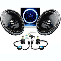 Black Headlight White Halo Angel Eye 6k Led Light Pair Fits 76-16 Jeep Wrangler