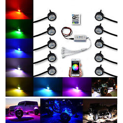 Multi-color Changing Led Rgb Smd Rock Light Bluetooth Set Of 10 For Jeep Truck