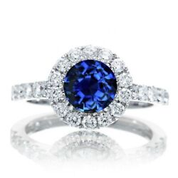 1.50 Ctw Sapphire And Natural Daimond Halo Engagment Ring 10k White Gold Sz-9