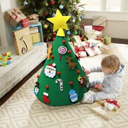 3D DIY Felt Christmas Tree with Hanging Ornaments Xmas Gifts Kids Decorations
