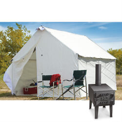 10 X 12 Canvas Wall Tent Bundle W/ Floor Frame And Outdoor Wood Stove Camp Cabin