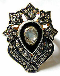 Vintage Repro 925 Sterling Silver 0.75Ct. Rose Cut Diamond Ring Ia348