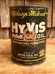Vintage 1 Qt Hyvis Motor Oil Tin Can Auto Gas Service Station Sign