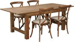 7and039 X 40and039and039 Antique Rustic Folding Farm Table Set W/4 Cross Back Chairs And Cushions