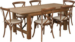 7' X 40'' Antique Rustic Folding Farm Table Set W/6 Cross Back Chairs And Cushions