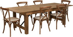 8' X 40'' Antique Rustic Folding Farm Table Set W/6 Cross Back Chairs And Cushions