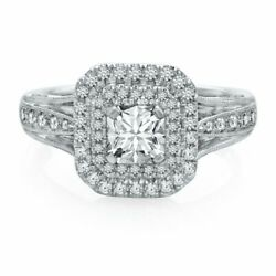 1.00 Ct Natural Diamond Halo Vintage Style Engagement Ring In 18k White Gold
