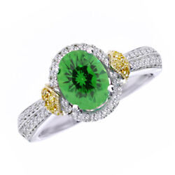 May Birthstone Emerald And 1/3ct Diamond Fashion Ring In 14k White And Yellow Gold