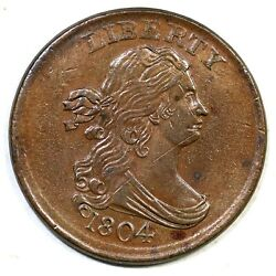 1804 C-10 Crosslet 4 Stems Dbl Or Triple Struck Draped Bust Half Cent Coin 1/2c