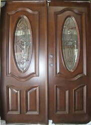 Salesolid Wood Mahogany Front Unit Pre-hung Andfinished Dmh7350-5 Gl04