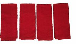 Red Kitchen Towels 100% Cotton Soft Absorbent Terry Cloth Set of 4 RedChevron
