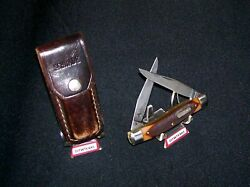 Schrade 77ot Knife And Sheath Used Old Timer Usa Made Great Hunting Knives Rare