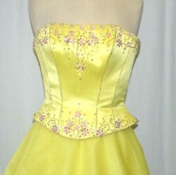 Tiffany Designs Ball Gown Quinceanera Pageant Prom Yellow Strapless Size 6 EUC