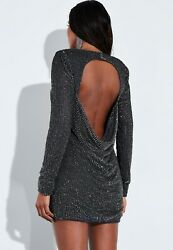 Missguided X Peace + Love Grey Sequin Embellished Cut Out Drape Back Mini Dress.
