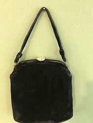 Vintage Black Velvet Purse Evening Bag Gold Accent Jeweled Clasp Closure $14.97