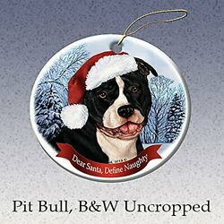 Holiday Pet Gifts Black amp; White Pit Bull Uncropped Dog Porcelain Ornament