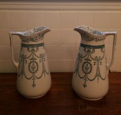 2 Adderly's Sheraton Pitcher's Early 1900's 466951, 13.5 Tall X 8.5 Round