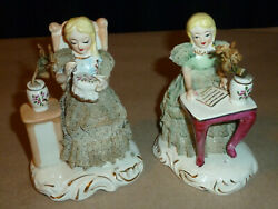 Lot Of 2 Ceramic Porcelain Victorian Figures Seated Girls Lace Flowers Sonsco