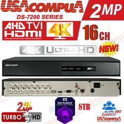 Hikvision 16 Channel Dvr 16ch Ds-7216hghi-f2 Tvi-ahd-cvi 4ch 3mp 1 Audion In