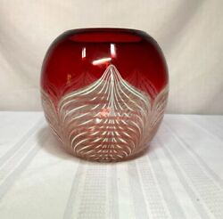 Durand Art Glass, Peacock Feathering On Ruby Red And Clear Base, Nice Vase